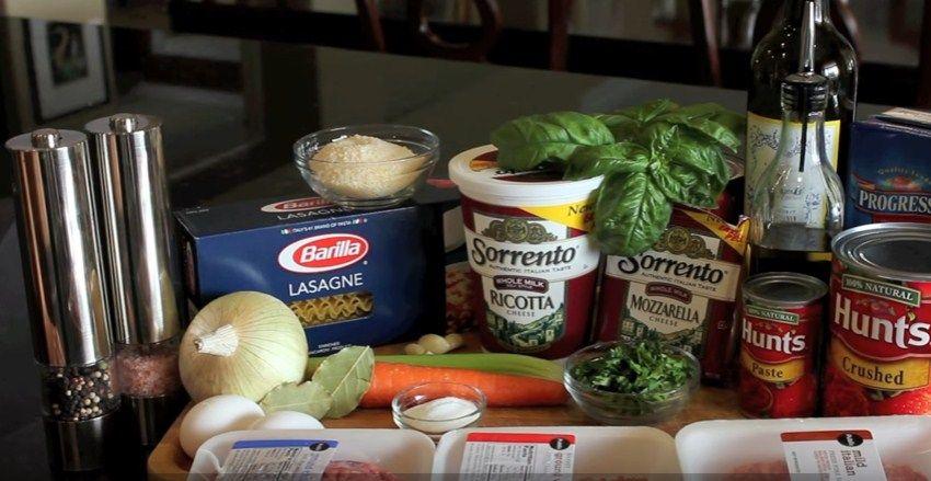 Лазанья мясная – ингредиенты